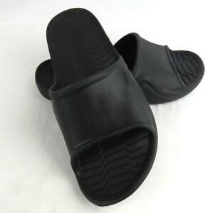 Sandal Slides Slip On Made In USA Men Size 9 Black Rubber  Open Toe Comfort Mint