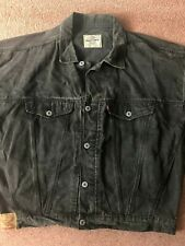 Teddy Smith Original 80s Vintage Faded Black Denim Jacket Wide Shoulders Tapered