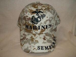 U.S. Marines, Camo Ball Cap with Semper Fi on the Bill