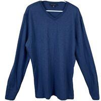 Robert Barakett Regular Fit V Neck Shirt Mens Size XXL Long Sleeve 2XL Blue