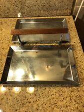 Art Deco-Manning Bowman-Folding Double Tray-Polished Chrome-Teak Wood Handle