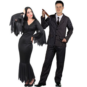 COUPLES GOTHIC CHARACTER COSTUME WOMENS BLACK DRESS MENS STRIPED SUIT HALLOWEEN
