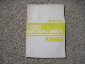 VINTAGE SUZUKI RM465 OWNERS MAINTENANCE MANUAL MOTOTCYCLE NR