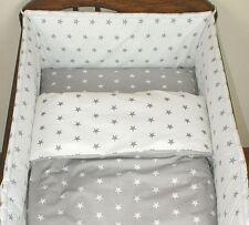 2 Pcs Baby Nursery Bedding Set Duvet Cover Pillow Case 150x120cm Fit Toddler Bed White Stars On Grey 120x90 Cm