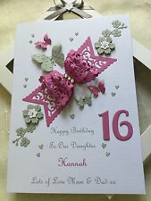 Handmade Personalised Boxed Bow Card Birthday Daughter Wife 16 18 21 30 Any Age