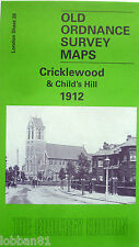 Detailed Old Ordnance Survey Map Cricklewood & Childs Hill  London 1912 Discount