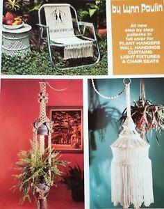 Vintage More Macrame Patterns Plant Hangers Curtains Lamps Chair Seat 1976 NOS