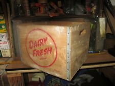 Vintage Dairy Fresh Brand Wooden Wood Delivery Box Crate bottle carrier shipping