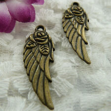 Free Ship 126 pieces bronze plated wing pendant 31x11mm #369