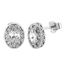 Sterling Silver 3/4 Cttw Oval Cubic Ziconia Antique Milgrain Style Stud Earrings