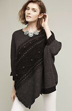 NWT Anthropologie Sleeping On Snow gray black Cabled Sweater Poncho O/S $168