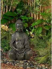 Sitting Buddha Garden Sculpture 19 1/2 High Statue Solar Power LED Light Decor