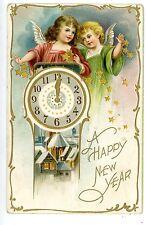 Happy New Year-ANGELS THROWING STARS-Embossed Postcard Clock Raphael Tuck 745