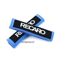 1 Pair JDM Blue Seat Belt Cover Shoulder Pads with Recaro Embroidery Racing Logo