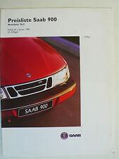Prospekt Saab 900 Limousine/Coupe/Cabriolet S/SE - Preisliste 1.1996, 10 Seiten