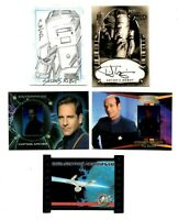 Star Trek lot: autograph, sketch card, Galactic Conflix diecut, 2 Gallery cards