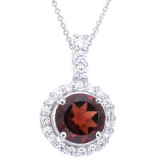 Sterling Silver Garnet Pendant (0.50 CT) With 18 Inch Chain