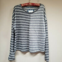 Anthropologie Womens Sweater Long Sleeve Pullover Stretch Striped Gray Sz Medium