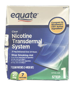 Equate Nicotine Transdermal System Step 1 Clear Patches 21mg - 14 Ct Exp: 2022 !