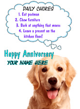 Golden Retriever Happy Anniversary Card Humour codeh A5 Personalised Greetings