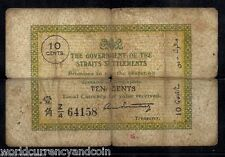 STRAITS SETTLEMENTS 10 CENTS P6 1920 RARE MALAYSIA SINGAPORE CURRENCY BANK NOTE