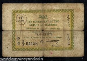 STRAITS SETTLEMENTS 10 CENTS P-6 1920 RARE MALAYSIA SINGAPORE CURRENCY BANK NOTE
