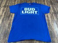 Bud Light Beer Men's Blue T-Shirt - Large - Budweiser