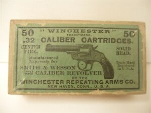 Rare Orig Winchester Ammunition Box 50 32 Cal Smith Wesson Cartridges Empty