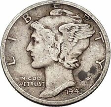 Mercury Winged Liberty Head 1943 Dime United States Silver Coin Fasces i43145