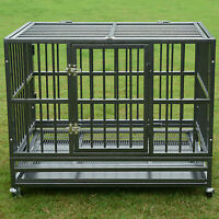 """37"""" or 48"""" Heavy Duty Strong Metal Pet Dog Cage Crate Kennel Playpen Wheels&Tray"""