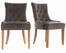 Pair Of Grey Velvet Scoop Button Back Dining Chairs Oak Legs Kitchen Dining Room