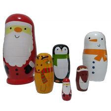 Russian Doll Wooden Nesting Dolls Matryoshka Christmas Santa Claus Kids Gift HZ