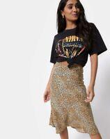 MOTEL ROCKS Tauri Midi Skirt in Mini Tiger Brown S Small  (mr96)