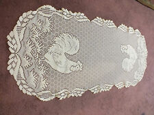 Collectible Heritage Lace Doily Off White Rooster Chicken Wire Design 32 x 14 In
