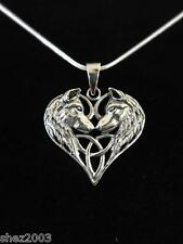 More details for genuine wolf heart 925 sterling silver pendant and black cord by lisa parker