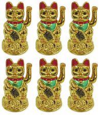 "Lot of 6 xFeng Shui GOLD BECKONING CAT Wealth Lucky Waving Kitty Maneki Neko 4"""