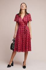 NWT ANTHROPOLOGIE KOPAL Adira Flutter-Sleeve Wrap Dress size S (Red Motif) $228