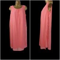 NEW Yessica Coral Chiffon Dress Summer Holiday Dress Size 10 - 24