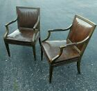 Baker Pair Vtg (2) Leather open Armchairs 25 w 26 deep 36 h