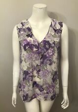 Halogen Purple Gray Floral Ruffle Front Top Size L