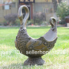 Western Pure Bronze Art Deco Sculpture Swan fruit dish tray Statue
