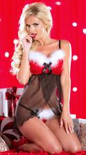 Costume Sexy Rosso Babbo Natale Christmas Piuma Lingerie Babydoll Slip