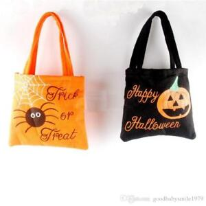 HALLOWEEN TRICK OR TREAT FELT GIFT CANDY LOOT TOTE BAG KIDS 2 Designs NEW
