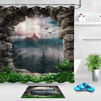 "Stone Cave Mountain Landscape Pterodactyl Shower Curtain Set Bathroom Decor 72"""