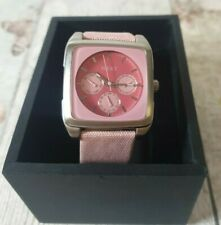Next Pink Square Watch Stainless Steel Back and Leather Backed Strap Boxed