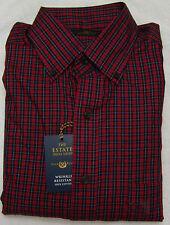 Club Room Red Mackay Plaid Regular Fit Long Sleeve Dress Shirt - Size 15 - 32-33