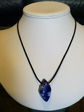 """Artisan Made Blue Lapis Large Bead Pendant Goat Leather Sterling Necklace 18.5"""""""