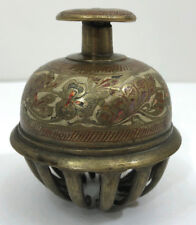 "Vintage Elephant Claw Bell Painted Etched Floral Brass-Alloy 3"" Clapper"