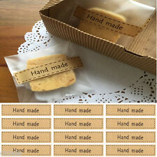 """Utility Lots 80Pc """"Hand Made"""" Self Adhesive Stickers Kraft Seal Paper Label Gift"""