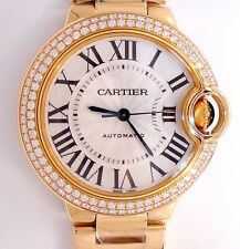 Cartier Ballon Bleu WJBB0002 18K Y Gold 33mm Factory Diamond Bezel * NEW UNWORN*